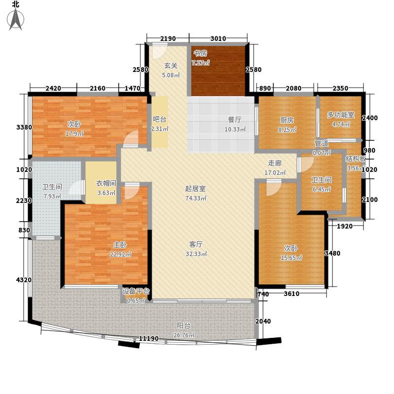 圣莫丽斯三期210.00㎡P2 奇数层 四房两厅两卫 200-户型