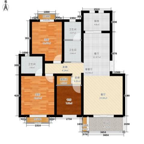 苏纶新村3室1厅3卫1厨130.00㎡户型图