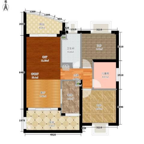 东山紫园3室1厅1卫1厨102.00㎡户型图