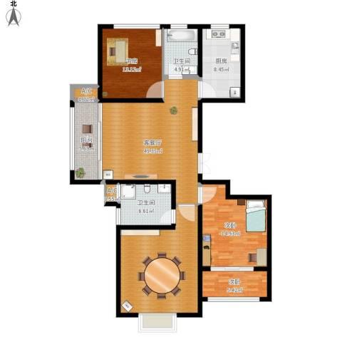 澄波湖壹号3室1厅2卫1厨158.00㎡户型图