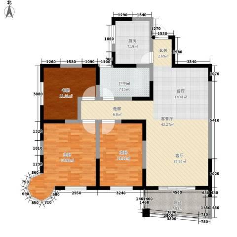 福海楼3室1厅1卫1厨99.96㎡户型图