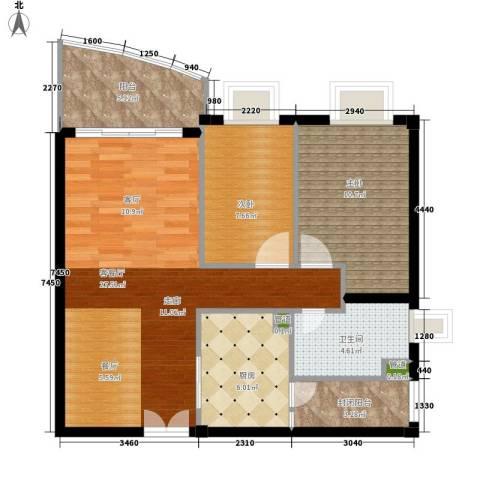 东山紫园2室1厅1卫1厨93.00㎡户型图