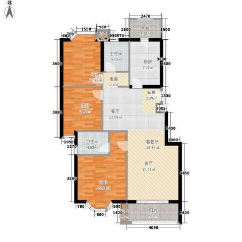 裕华名居城3室1厅2卫1厨111.00㎡户型图