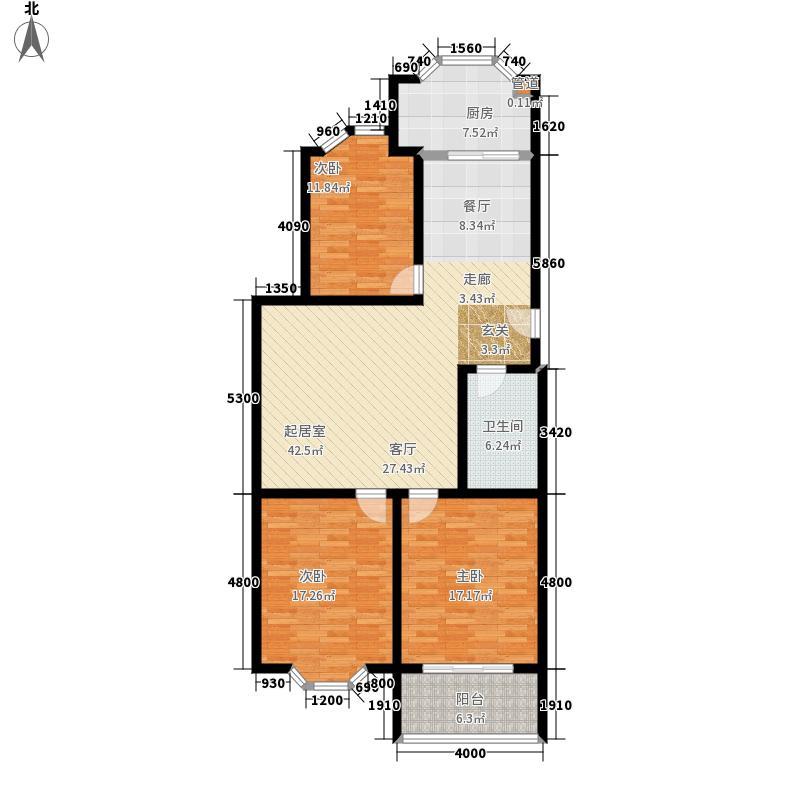 紫金山小区123.00㎡面积12300m户型