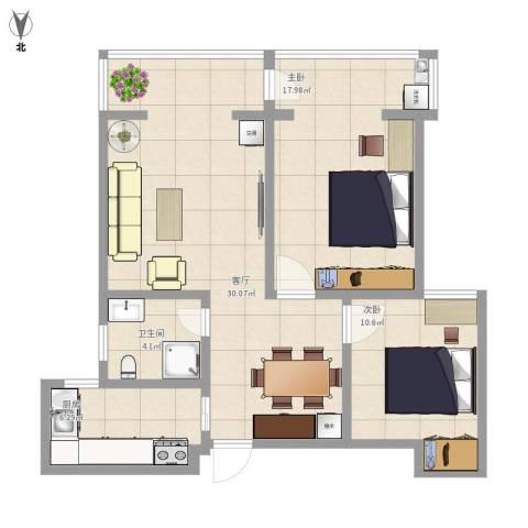 上城悦府2室1厅1卫1厨97.00㎡户型图