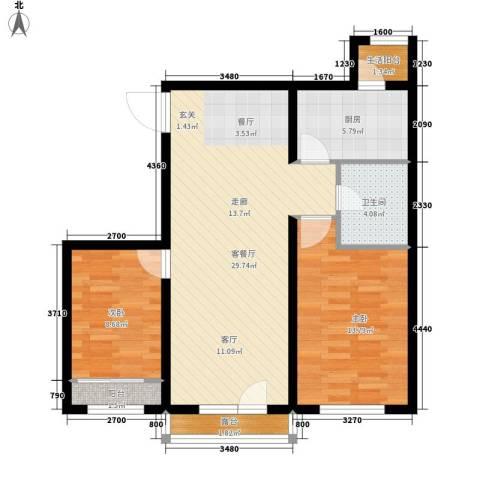 嘉美广场2室1厅1卫1厨96.00㎡户型图