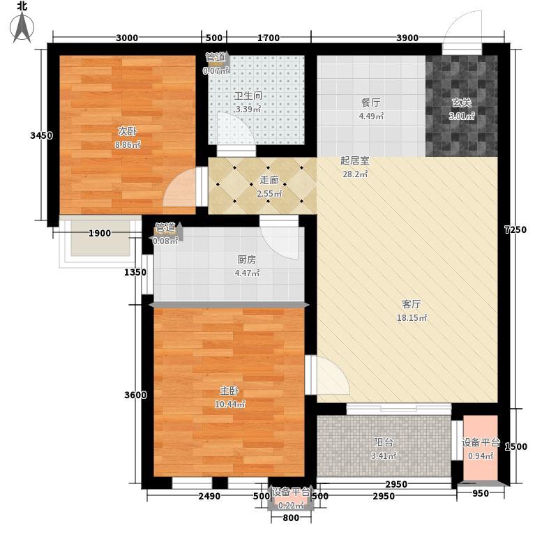 六合轩府92.00㎡2号楼标准层C户面积9200m户型