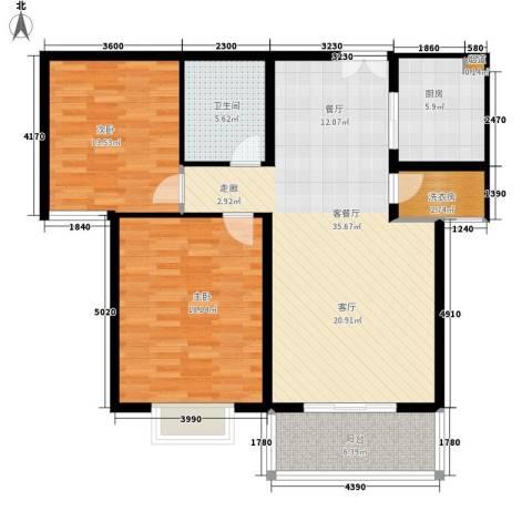 龙府北郡2室1厅1卫1厨99.00㎡户型图