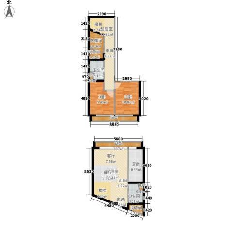 中弘北京像素2室0厅2卫1厨95.02㎡户型图