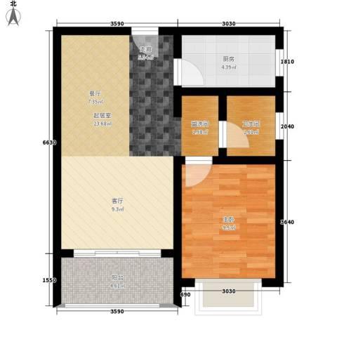中华坊三期海棠园1室0厅1卫1厨60.00㎡户型图