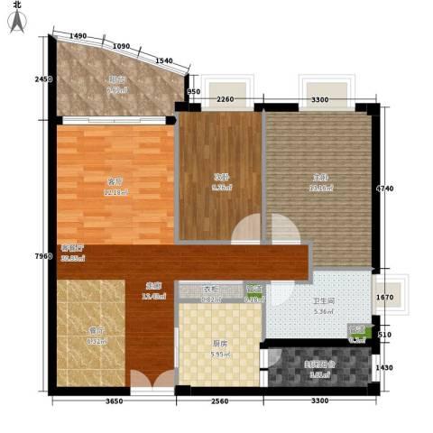 东山紫园2室1厅1卫1厨94.00㎡户型图