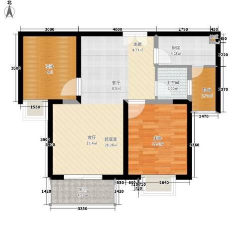 万国远鉴名筑2室0厅1卫1厨93.00㎡户型图