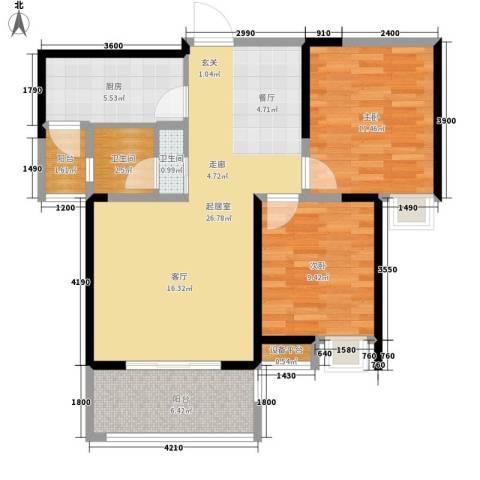 荣华北经城2室0厅2卫1厨91.00㎡户型图