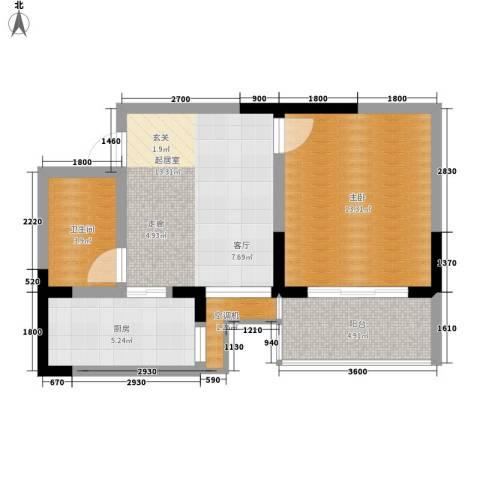 中北蔚蓝星座1室0厅1卫1厨53.00㎡户型图