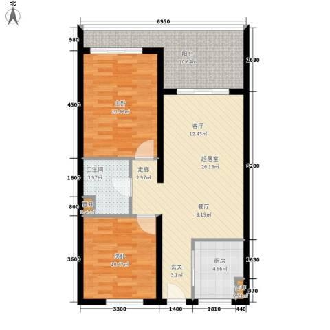 东方・龙湾2室0厅1卫1厨89.00㎡户型图