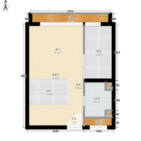 中弘北京像素1厅1卫1厨40.12㎡户型图
