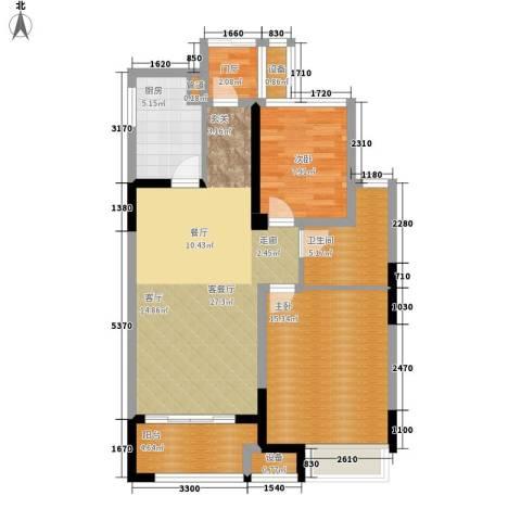 金科天籁城2室1厅1卫1厨81.00㎡户型图