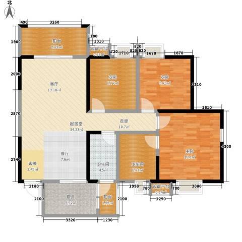 荣华北经城3室0厅2卫1厨127.00㎡户型图