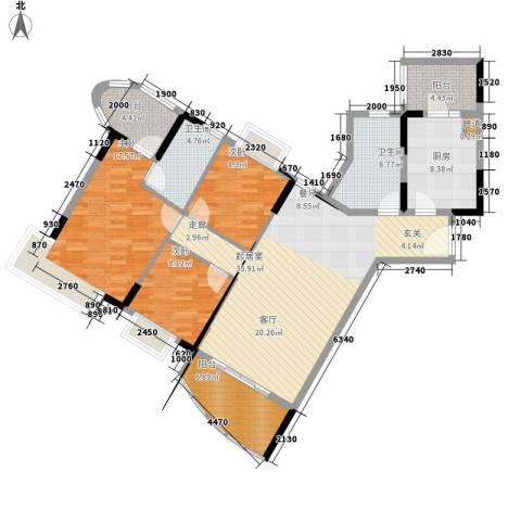自在城市花园3室0厅2卫1厨112.00㎡户型图