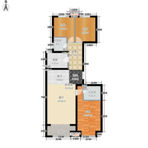 鹭港小区3室0厅2卫1厨126.00㎡户型图