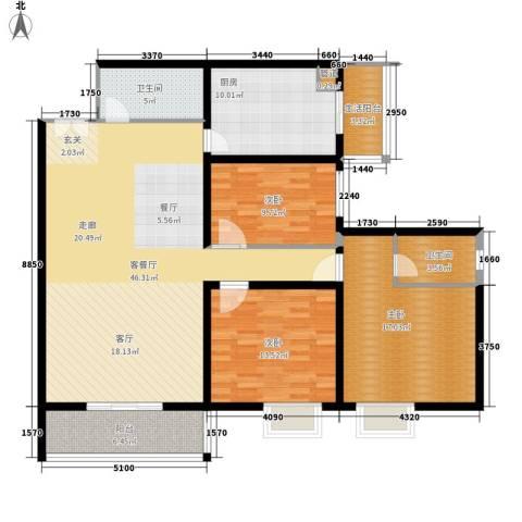 东方星苑3室1厅2卫1厨162.00㎡户型图