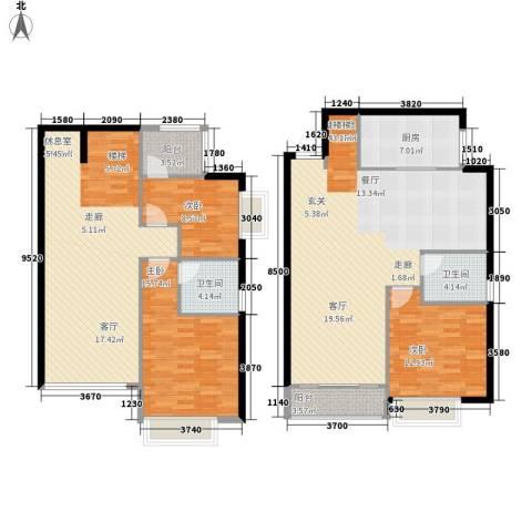 恒大名都3室0厅2卫1厨145.00㎡户型图
