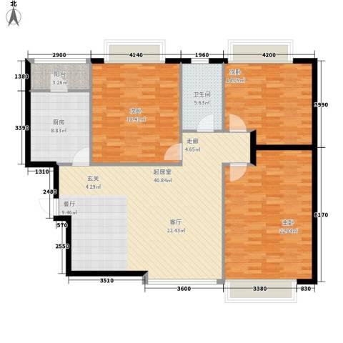 恒大名都3室0厅1卫1厨124.09㎡户型图