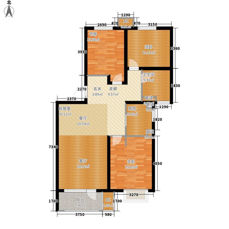 万科城国际公园115.00㎡建筑面积约为C户型3室2厅
