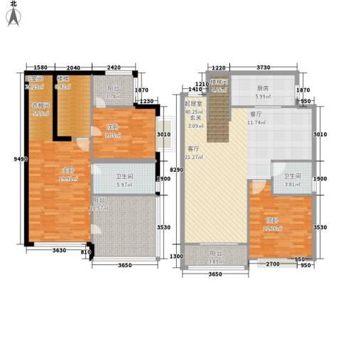 恒大名都2室0厅2卫1厨145.00㎡户型图
