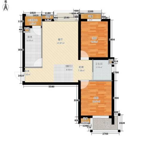 鼎旺国际社区2室1厅1卫1厨89.00㎡户型图