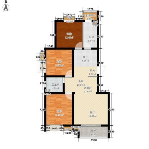 鼎旺国际社区3室1厅1卫1厨123.00㎡户型图