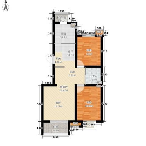 鼎旺国际社区2室1厅1卫1厨121.00㎡户型图