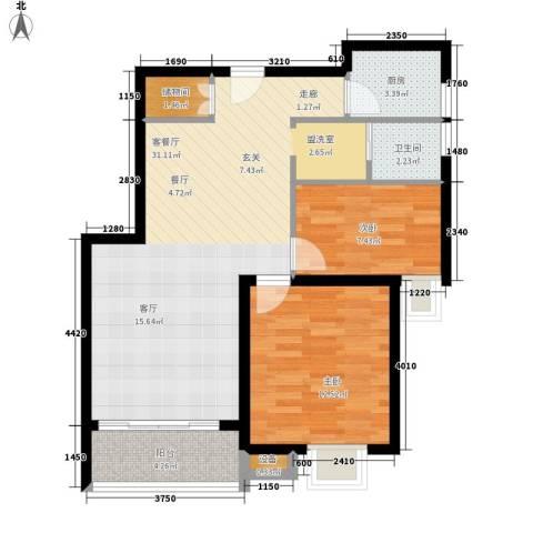 辰龙广场2室1厅1卫1厨94.00㎡户型图