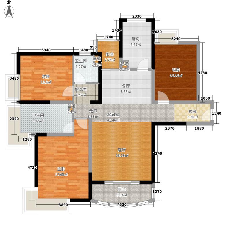 凯旋铭居124.00㎡3居室面积12400m户型