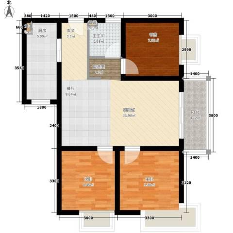 克拉上城3室0厅1卫1厨88.00㎡户型图