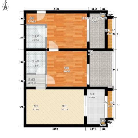克拉上城2室0厅2卫1厨90.00㎡户型图