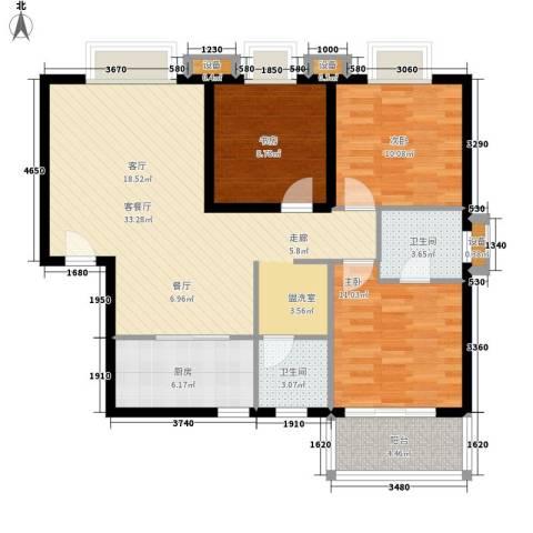 辰龙广场3室1厅2卫1厨110.00㎡户型图