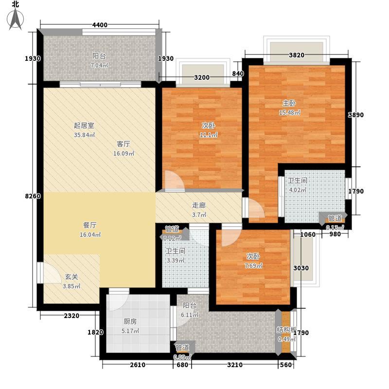 君悦·黄金海岸E2户型3室2厅