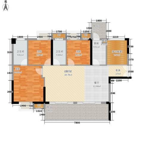 荣爵馆3室0厅2卫1厨107.60㎡户型图