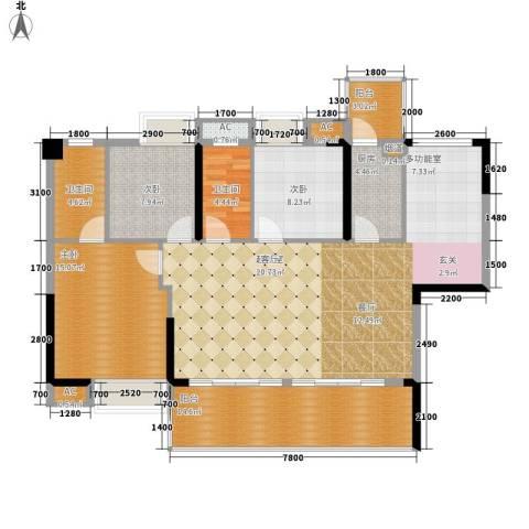荣爵馆3室0厅2卫1厨107.82㎡户型图