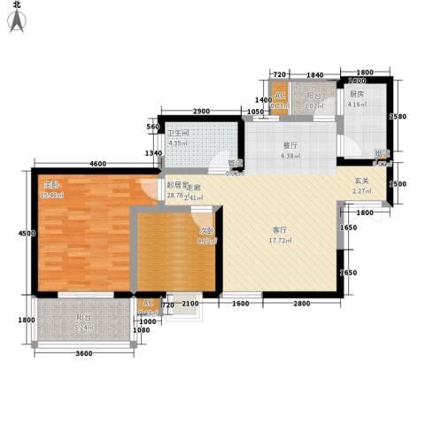 铭城16号2室0厅1卫1厨99.00㎡户型图