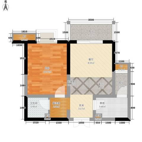铭城16号1室0厅1卫1厨61.00㎡户型图