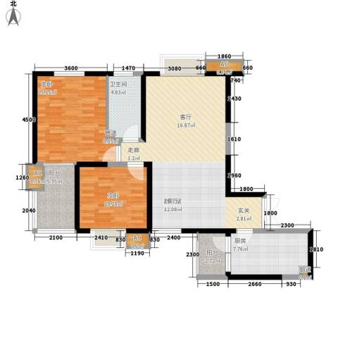 铭城16号2室0厅1卫1厨108.00㎡户型图