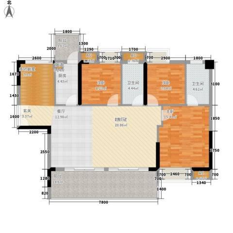 荣爵馆3室0厅2卫1厨109.22㎡户型图