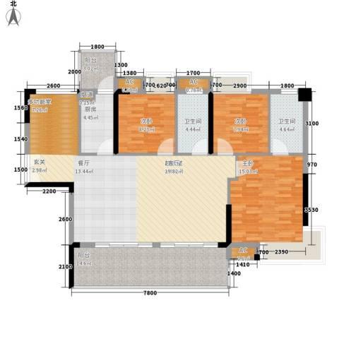 荣爵馆3室0厅2卫1厨107.95㎡户型图