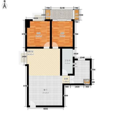 名门大厦2室0厅1卫1厨91.00㎡户型图