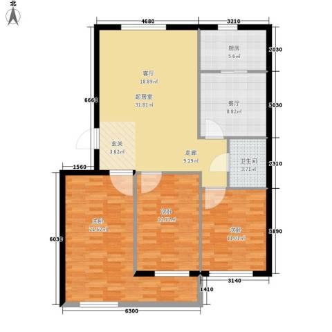 谭家小区3室1厅1卫1厨131.00㎡户型图