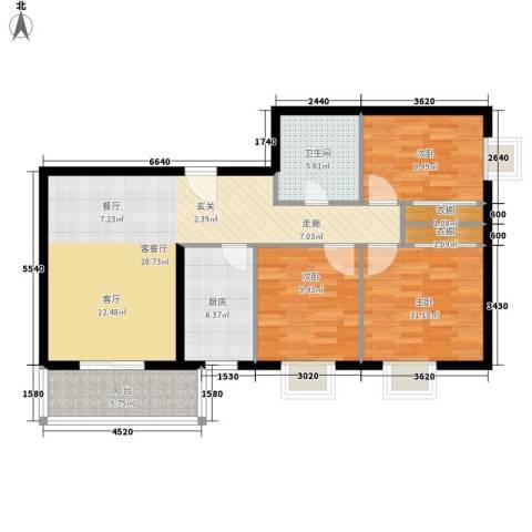 蓝山公馆3室1厅1卫1厨118.00㎡户型图