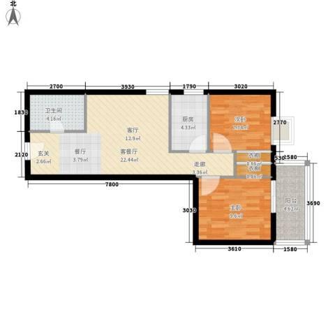 蓝山公馆2室1厅1卫1厨76.00㎡户型图