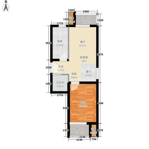 嘉美广场1室0厅1卫1厨62.00㎡户型图
